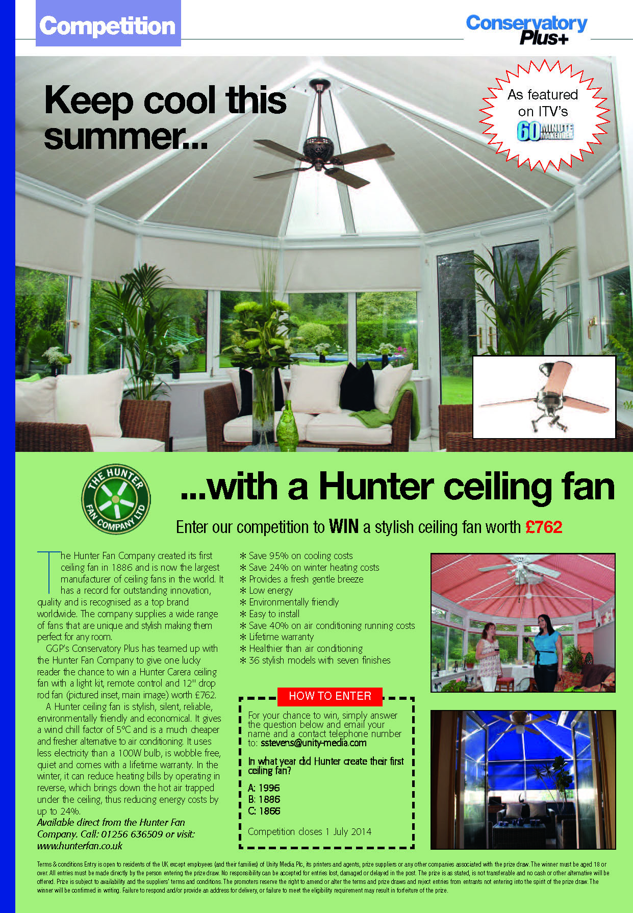 Win a Hunter Carera Fan Bundle