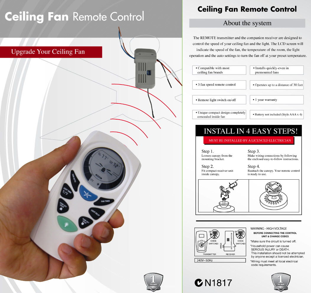 Lucci universal ceiling fan remote control pack mozeypictures Images