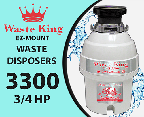 Waste King WKI-3300 Disposal Unit, 3/4 Hp Lifetime Warranty - 20% off