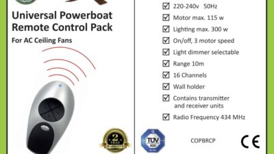 Powerboat Universal Ceiling Fan Remote Control Pack